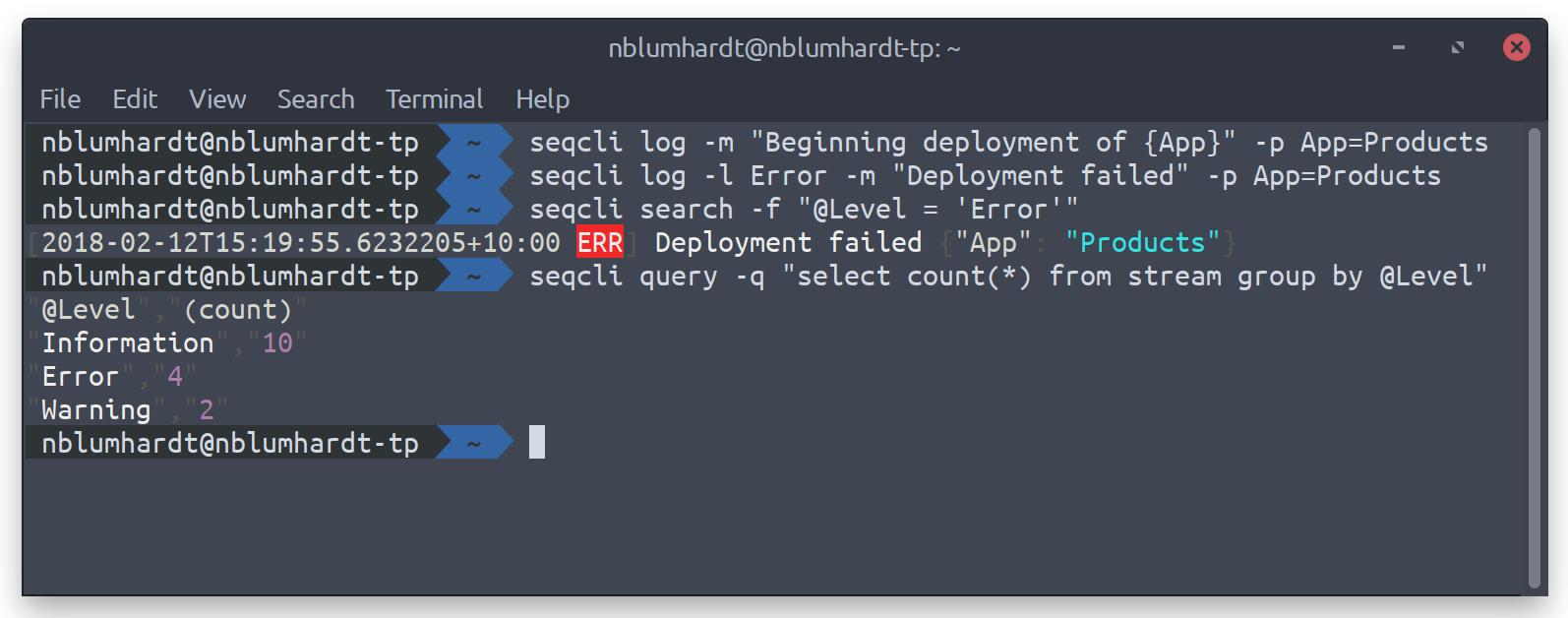 The Seq command-line client