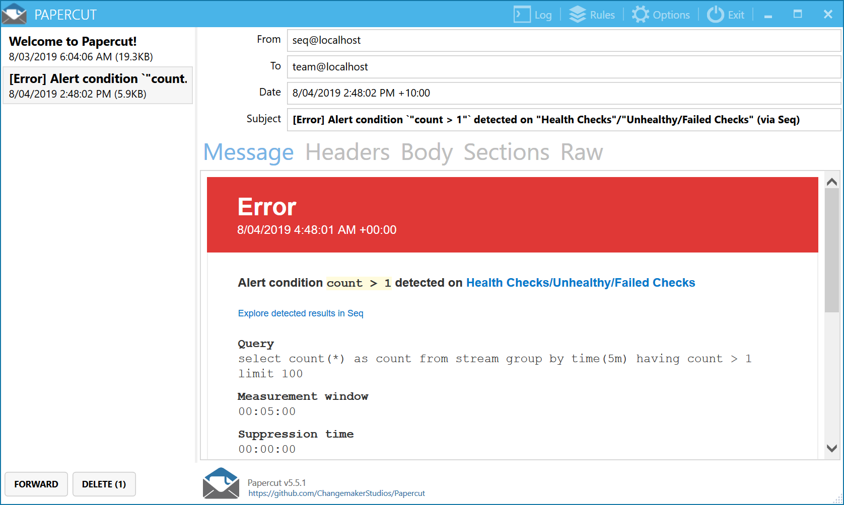 Health check alert email