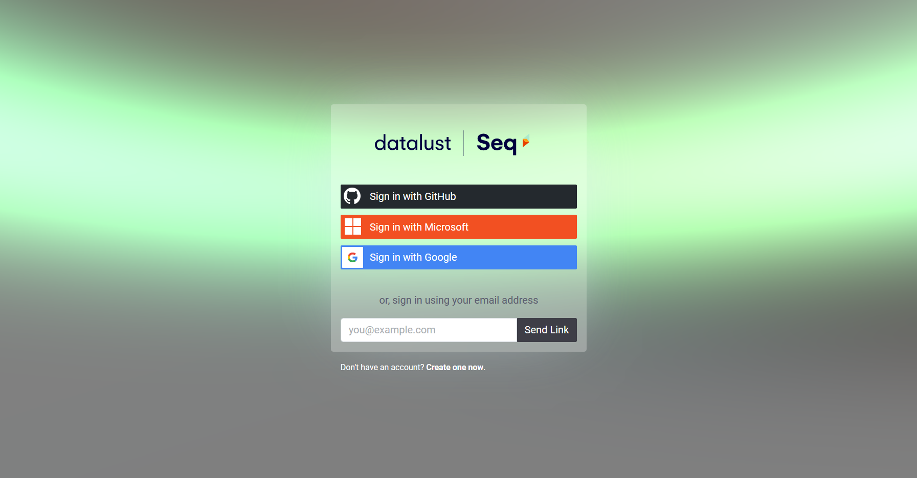Datalust Account login screen