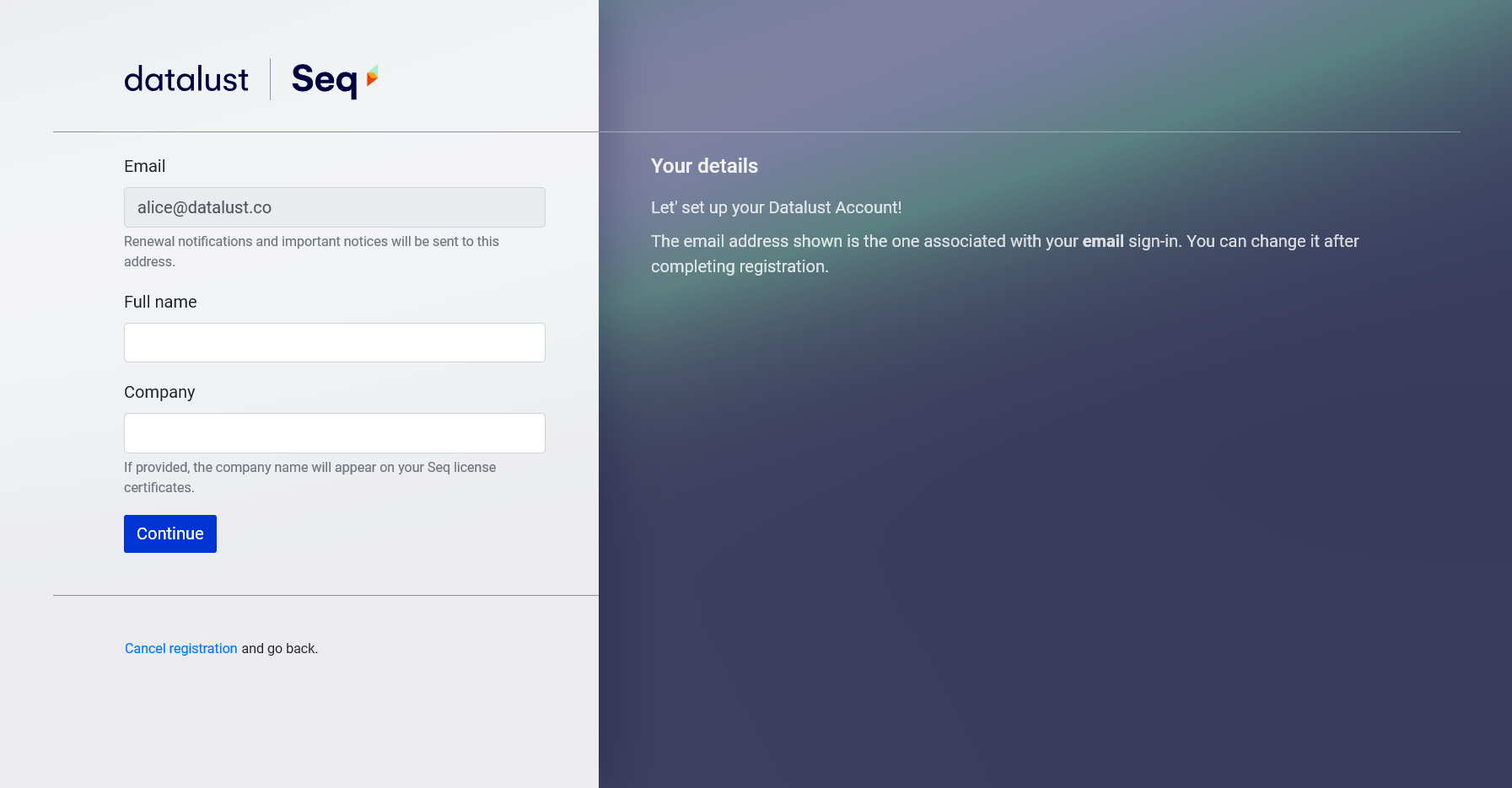 Datalust Account creation step 2