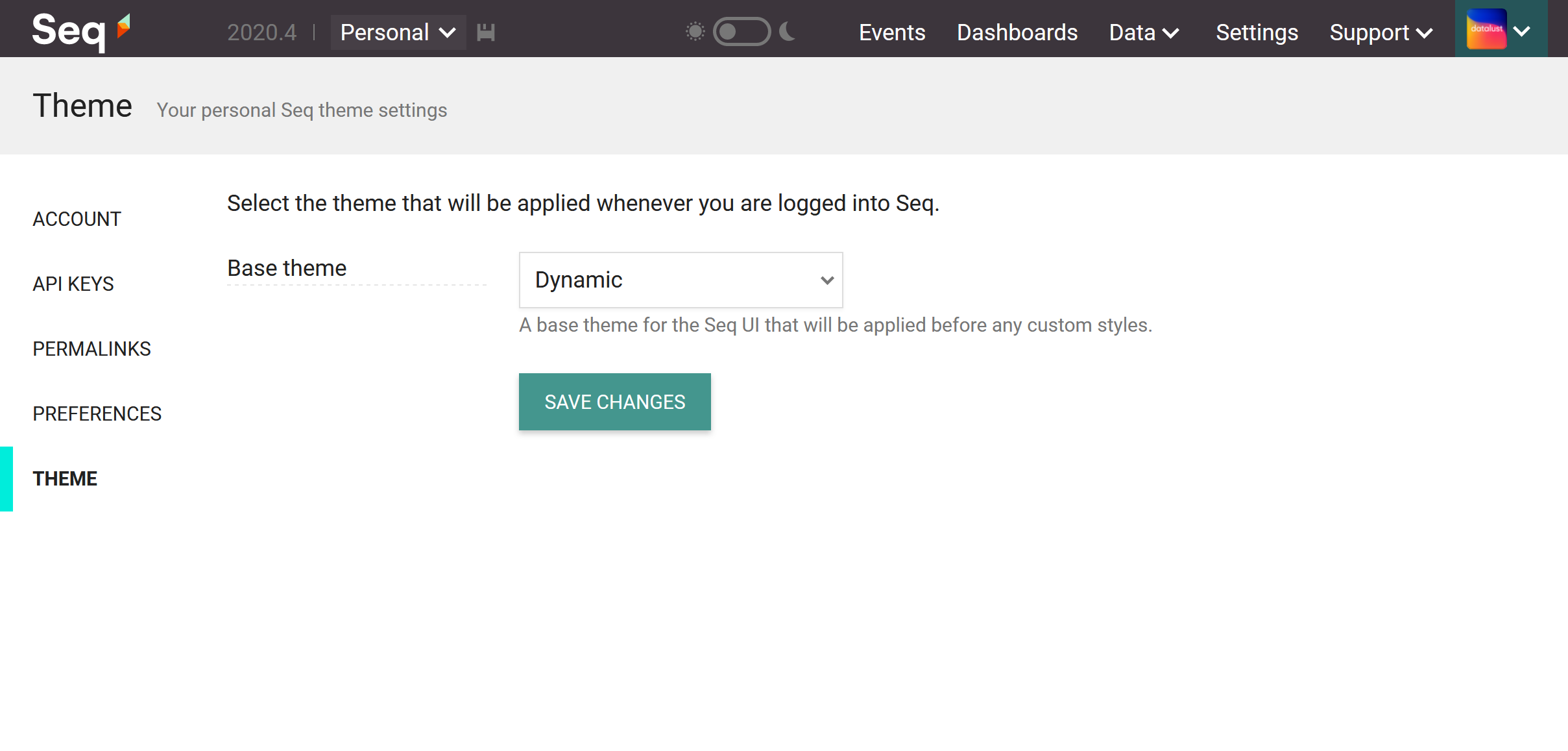 The Seq user preferences Theme page, showing the base theme selector with Dynamic option selected.