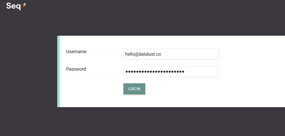 A screenshot of the Seg username/password login screen, with username and password filled.